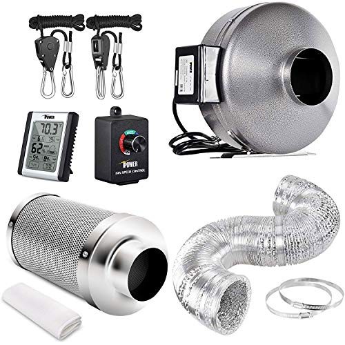 iPower GLFANXSETINLINE6D25RHCTR 6 Inch 442 CFM Inline Fan Carbon Filter 25 Feet Ducting Combo with Variable Speed Controller Rope Hanger and Humidity Monitor for Grow Tent Ventilation, Kits, Silver