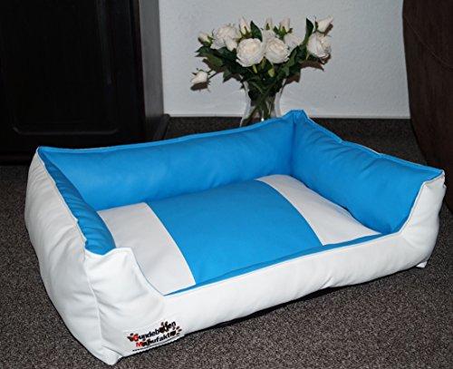 Hundebett Hundesofa Schlafplatz Kunstleder Acceso Farbe und Größe wählbar von XS bis XXL (105 cm X 80 cm, Weiss blau)