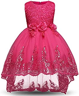 Lace flower Children's Dress - High-Low Floor Length Princess Dress for Girls- 11-12 Years