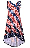 Bonnie Jean Big Girls Red White Blue Americana 4th July Dress (7, Navy)