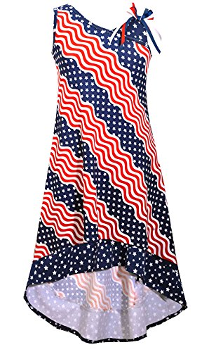 Bonnie Jean Big Girls Red White Blue Americana 4th July Dress (8, Navy)