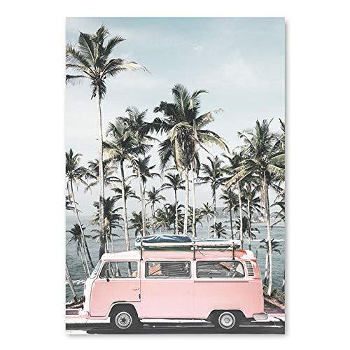 kldfig Ocean Landschap Canvas Poster Scandinavische stijl Strand Roze bus muur Kunstdruk Schilderij Decoratie Afbeelding Scandinavische woning 59x84cm ungerahmt C