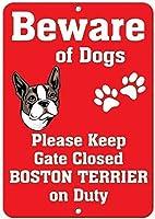 ベンサンナンシー金属警告サインボストンテリア犬の楽しみのために注意してください1612ヴィンテージアートの装飾コーヒーオフィスプールヤード公衆トイレ駐車場家の壁の装飾ビンテージアートポスター