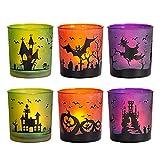 MJ PREMIER Halloween Teelichthalter, 6 Stück Kerzenhalter 7x7x8 cm Halloween Dekoration, Kürbis und Hexe Windlicht, Teelichtgläser für Halloween Deko, Tischdeko, Party, Geschenk