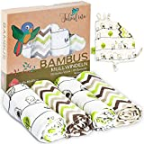 Tabalino - Pañales de gasa de bambú paños de escupir maravillosamente suaves - 80x80cm - Pack de 4 - un paño mimoso gratis - doble tejido - niño y niña - paños de muselina para bebés, pañales de tela
