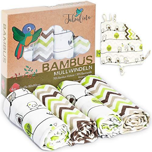 Tabalino - Mantas Muselina Bebé, Pañales de gasa de bambú paños de escupir maravillosamente suaves - 80x80cm - Pack de 4 - un paño mimoso gratis - doble tejido - niño y niña - pañales de tela