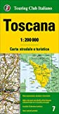Toscana, mapa de carreteras impermeable. Escala 1:2000.000. Touring Club Italiano. (Carte regionali 1:200.000)