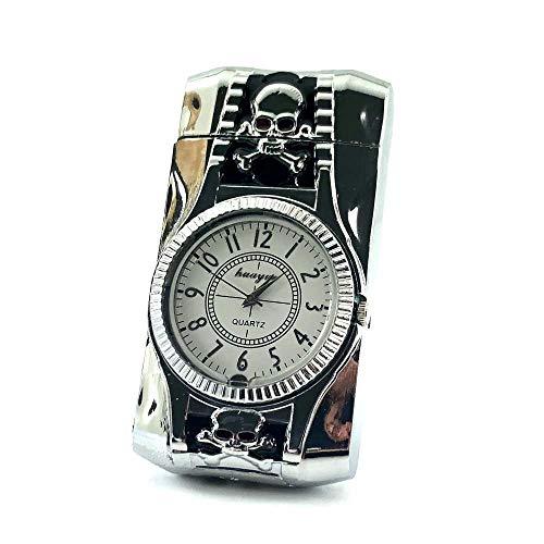 【C488】Boutique/ブティック ガスターボライター シルバー/銀 時計付き 電池交換可 DELOOVAブランド・保証カード付 ジェットライター 防風 充填式 [並行輸入品]