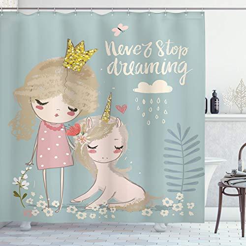 ABAKUHAUS Zitat Duschvorhang, Prinzessin Girl Einhorn, Waschbar & Leicht zu pflegen mit 12 Haken Hochwertiger Druck Farbfest Langhaltig, 175 x 180 cm, Multicolor