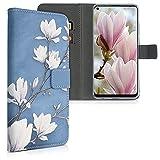 kwmobile Carcasa Compatible con HTC Desire 20 Pro - Funda de Cuero sintético Magnolias - con Tarjetero