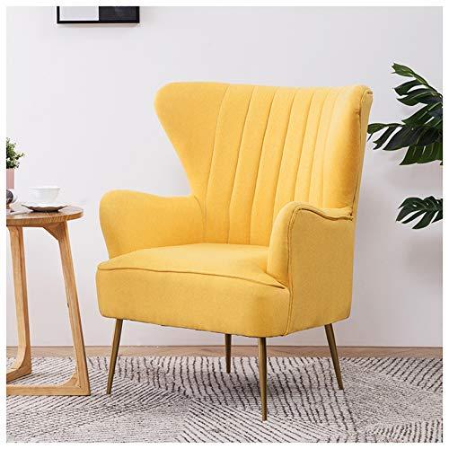 Butaca con Brazos, Sillón nórdico Modelo para Dormitorio o salón, butaca de Estilo escandinavo tapizado Ver la TV, Leer Lactancia,Amarillo