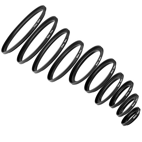 Neewer® 10 Stück Anodized Schwarz Metall Step-up-Adapter-Ring Objektiv Adapterring Set Inklusive 26-30mm, 30-37mm, 37-43mm, 43-52mm, 52-55mm, 55-62mm, 62-67mm, 67-72mm, 72-77mm, 77-82mm
