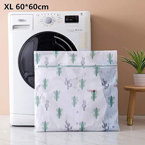 6 mesh polyester maatregelen waszak voor het wassen van ondergoed kleding Family ondergoed beha beschermd toilettassen Cactus Print,XL 60-60cm,een afmeting