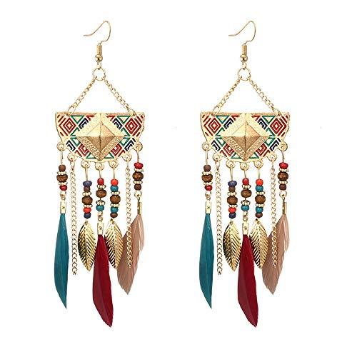 Damen Ohrringe Mode AnhäNger OhrhäNger Schmuck Geschenke Frauen BöHmischen FäCherföRmigen Perlen Quaste Feder Ohrringe Mehrfarbig