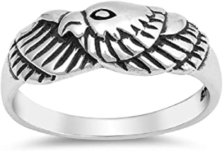 CloseoutWarehouse Oxidized Sterling Silver Pointed Wings Ring