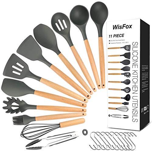 WisFox Utensilios Cocina de Silicona,Antiadherente con Mango de Madera para Utensilios, Calor Utensilios De Cocina Antiadherente 11 Piezas + 10 S Ganchos - Gris