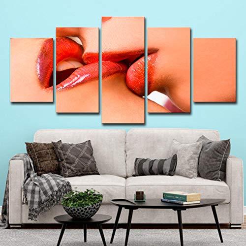 5 paneler väggkonst bilder frestelsen av en rödtoppad tjej, tryck på duk 100 x 55 cm träram redo att hänga djurfotot för hemmet modern dekoration väggbilder vardagsrum tryck dekor