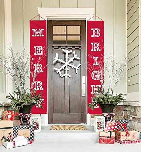 Merry Christmas Banner, Merry Bright Outdoor Indoor Porch Sign and Decorations, Vivid Red and Normal White