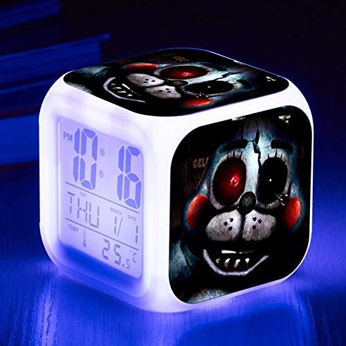fdgdfgd Reloj Despertador Digital con Pantalla táctil multifunción de Color LED7 de Oso de Animales Salvajes de Medianoche con Fecha de termómetro