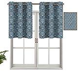 Hiiiman Elegantes cenefas de cortina con ojales en la parte superior, diseño floral azul, juego de 1, 127 x 45 cm, decoración para el hogar para habitación de niños y niñas