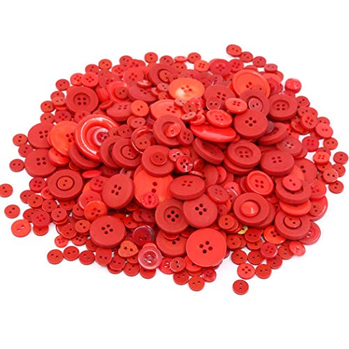 EMAAN 650 pieces of Various Sizes Resin Buttons 2 and 4 Holes Round Craft Buttons Sewing DIY Crafts Scrapbook Childrens Handmade Button Painting Button Bouquet (Christmas Red)