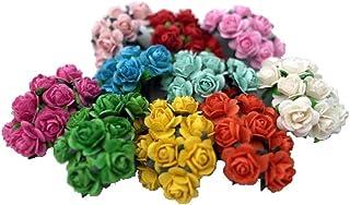 100 Mixed Color Artificial Mulberry Paper Rose Flower Wedding Scrapbook 1.5cm Diy Craft Scrapbook Scrapbooking Bouquet Craft Stem Handmade Rose Valentines Anniversary Embellishment Mini Roses