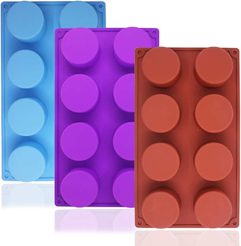 SourceTon 8 Cavity Large Round Silicone Baking Mold 3 Packs Of Food Grade Non Stick Baking Molds For Cake Candy Handmade Soap Muffin Cupcake Ice Cube