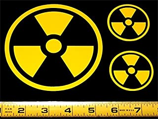 Radiation Symbol With Border - Set of 3 HQ 2 Color High Gloss Black on Yellow Vinyl Decals!