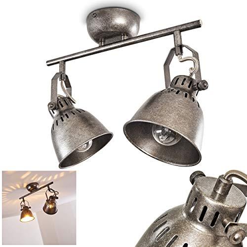Deckenleuchte Nanlia, Deckenlampe aus Metall in Silber/Grau, 2-flammig, mit verstellbaren Strahlern, 2 x E14-Fassung, max. 40 Watt, Deckenstrahler im Retro/Vintage Design, LED geeignet