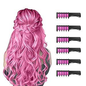 6 Piezas Hair Chalk Peine de Tiza para el Pelo para Niñas y Niños, de Color Brillante Temporal para Niños Niñas Regalos, Lavable, Tinte para el Pelo para, Cumpleaños, Cosplay, Fiesta(Rosado)