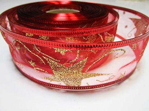 CaPiSo Nastro per Natale con Decorazione Esclusiva con Stelle Glitter