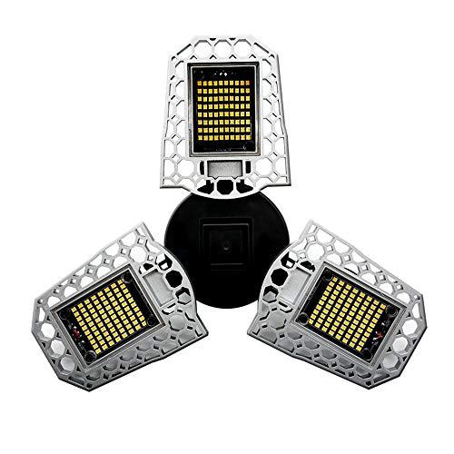 Radar Inductie Tri-Leaf LED Garage Lights 6000LM-12000Lm, 60W-80W E27 / E26 waterdichte plafondlampen vervormbaar LED garage voor garage, werkplaats, magazijn (upgrade 60W-7200LM) 100W Wit licht
