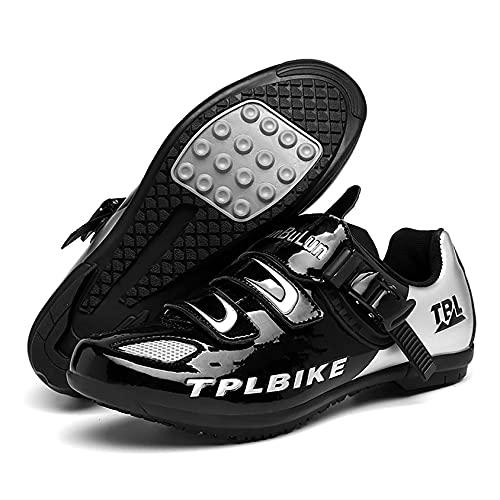 RTY Zapatos De Ciclismo De Bicicleta para Hombre, Zapatos De Microfibra Transpirables Sin Bloqueo para Bicicleta De Montaña, Zapatos De Ciclismo,Negro,47
