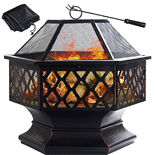 GRANDMA SHARK Outdoor Fire Pit, Hex Iron Fire Bowl Fireplaces for Garden Patio, with Spark Protection Mesh/Poker/Cover (Dia: 70cm)