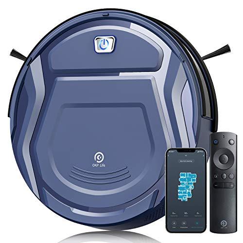 Aspirateur Robot, 2100Pa Robot Aspirateur, 7.6cm Mince, Capteur de Collision 6D App/Alexa/Télécommande 500ml Détection d'Obstacles Silencieux Idéal pour Les Tapis Poil Ras Sols Durs Poils D'animaux K2