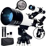 Upchase Telescopio Astronomico, 70/300/mm Refractor Telescopio, Portátil y Potente, Adaptador Móvil y Mochila, Ideal para Adultos,Principiantes,Observación de la Luna,Paisaje, Niños
