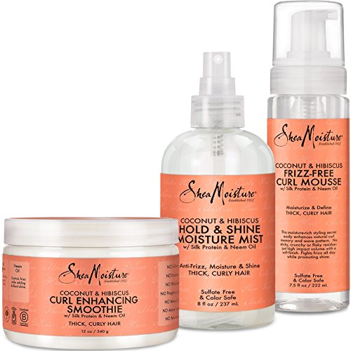 Shea Moisture Coconut and Hibiscus Combination Pack - Daily Moisture Mist, 8 Ounce | Frizz-Free Curl Mousse, 7.5 Ounce | Curl Enhancing Smoothie, 12 Ounce