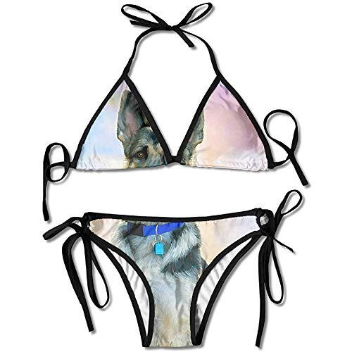 Bikini,German Shepherd Art Painting Bikini Women's Summer Swimwear Triangle Top Bikinis Swimsuit Sexy 2-Piece Set