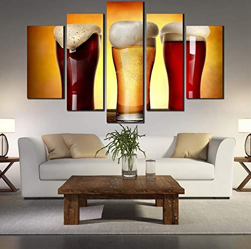 wmyzfs HD 5 Cerveza Bebiendo póster en Lienzo Vintage Pintura Arte de la Pared Imágenes para la decoración del hogar Cuadros Poster Cuadros unframe