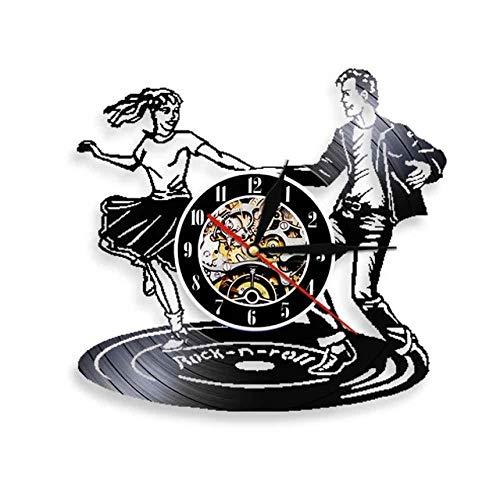 SKYTY Vinyl Music Record Wall Clock-Handmade Vintage Silhouette Dancing Vinyl Clock Interior Decor Art Clock-With Led Light