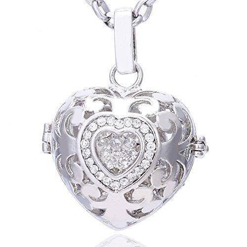 Morella Collar ángel de la Guarda de Acero Inoxidable 70 cm con Colgante Amor-corazón y Bola de resonancia de circonita para Damas en Bolsa para Joyas