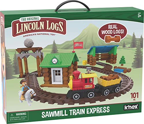 LINCOLN LOGS-Sawmill Express Train - 101 Parts - Real Wood Logs - Buildable Train Track-Ages 3+ - Best Retro Building Gift Set for Boys/Girls-Creative Construction Engineering-Preschool Education Toy