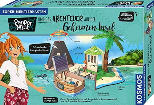 KOSMOS 606084 Pepper Mint und das Abenteuer auf der Geheimen Insel, Erforsche mit Pepper die Energie der Sonne, Experimente zu Solar-Energie, Experimentierkasten für Kinder ab 8 bis 11 Jahren