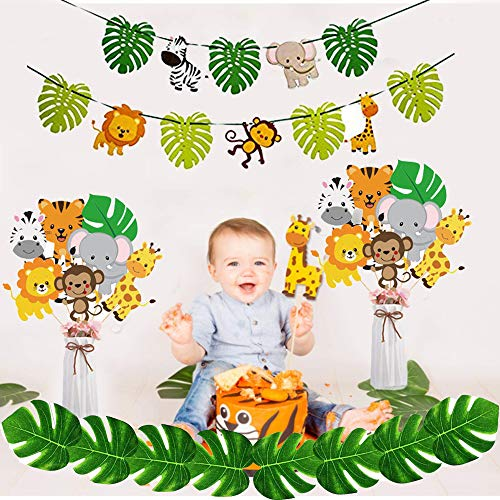 LVEUD Animal Themed Birthday Party Decorations: 14 pcs Cake Topper +1pcs Animal World Banner +1pcs Leaf Banner, Animal Birthday Party Cake Topper Photo Props, Dessert Table Decorations (A)