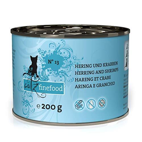 catz finefood N° 13 Hering & Krabben Feinkost Katzenfutter nass, verfeinert mit Kürbis & Aloe Vera, 6 x 200g Dosen