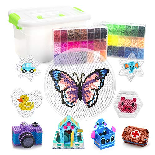 Fuse Beads - 12000 pcs Fuse Beads Kit with 48 Colors for Kids - 5mm Fusion Beads Including Multiple Accessories You Need - Iron Beads Set for Child Gift