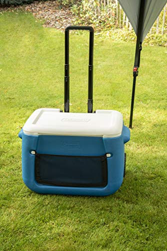 Coleman Cool Box 50 QT Poly-lite Wheeled Mesh, 47 Litres capacity, Large High Performance Cooler Box with wheels, Ice Box for Drinks