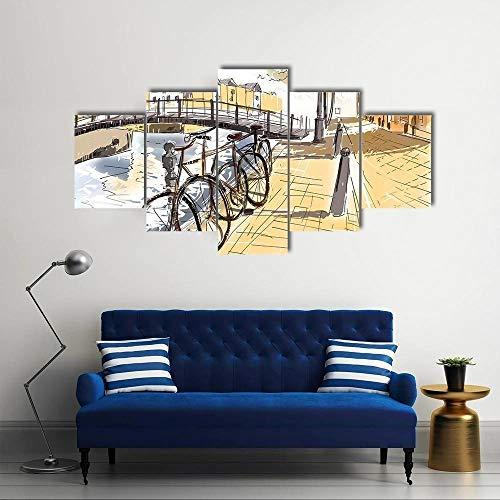 Målning konstverk dekoration cyklar på gatan i Amsterdam stora konstverk tryck inramade för vardagsrum sovrum hem kontor väggdekor lätt att hänga med vägghängning tillhandahålls