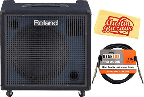 Roland KC-600 4-channel Stereo Mixing Keyboard Amplifier - 200W Bundle with Instrument Cable and Austin Bazaar Polishing Cloth