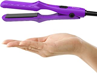 Ovonni Mini Travel Hair Straightener, Dual Voltage 3/4 Inch Ceramic Tourmaline Negative Ionic Flat Iron with Traveling Bag for Europe, Professional Straightener Iron for Fine/Thin Short Hair (Purple)